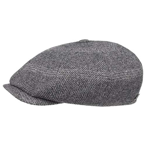 Stetson Casquette Many Woolrich Newsboy Homme | Made in Germany Gavroche pour l'hiver avec Doublure, Visiere, Visiere Automne-Hiver | 56 cm Gris