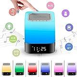 Lampe Bluetooth Stereo-Lautsprecher mit Mikrofon und Akku 4000mAh, tragbare Nachttischlampe Schlafzimmer mit Alarm, Tisc