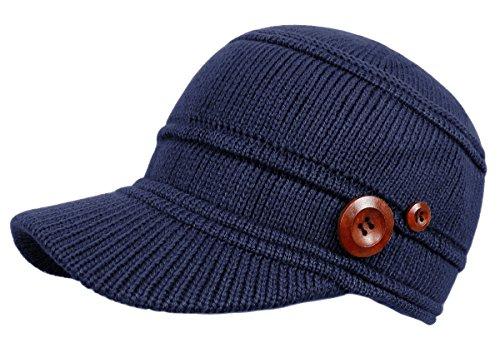 Schirmmütze Damen Mütze Strickmütze warme Wintermütze mit Holzknopf in 4 Farben - A080 (A090-Tiefblau)