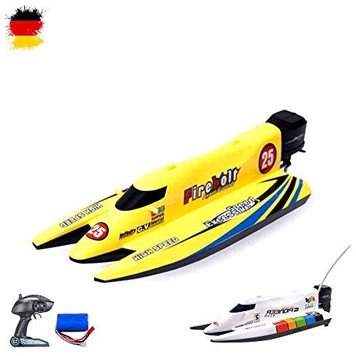 HSP Himoto 2,4GHz RC ferngesteuertes Speedboot Racingboat Katamaran HighSpeed-Modell mit Power Motor und Akku, Ready-to-Run, Top-Design, Komplett-Set mit Akku und Ladegerät