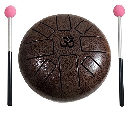 Aum Happy Drum (ॐ) Instrument de percussion à lames métalliques, 15cm environ avec baquette en caoutchouc, housse de rangement, parfait pour la méditation, le yoga, la musicothérapie Zen