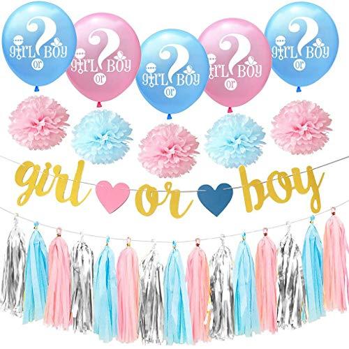 ue Quaste Garland Papier Blume Banner Junge oder Mädchen Brief Latex-Ballon-Geschlecht Decken Party-Dekoration ()