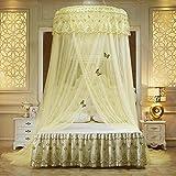 Laterne/Betthimmel mit Spitze, rund, kuppelförmig, romantisch, für Hochzeit, Schlafzimmer, atmungsaktiv, 2,2 m