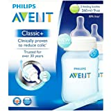 Philips Avent Classic+  1m+ Blue Feeding Bottle SCF565/27 (260ml/9oz), 2 Feeding Bottles