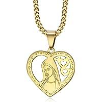 BOBIJOO Jewelry - Stringa e Mefaglietta Vergine Maria Cuore Dorato Oro Sottile Ciondolo Medaglione Comunione