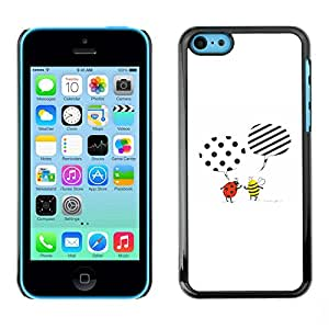 Omega Covers - Snap on Hard Back Case Cover Shell FOR Apple iPhone 5C - Cute Cartoon Bee Ladybug White