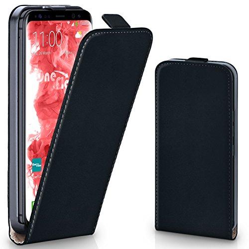 moex Samsung Galaxy S8   Hülle Schwarz 360° Klapp-Hülle Etui Thin Handytasche Dünn Handyhülle für Samsung Galaxy S8 Case Flip Cover Schutzhülle Kunst-Leder Tasche