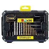 Stanley STA7222 Foret de Perçage et Accessoires de Vissage, Noir, Set de 36 Pièces