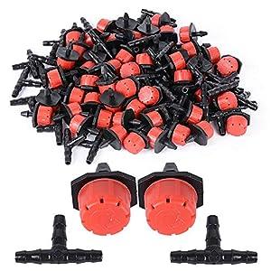 BETESSIN 200pcs Kit Riego por Goteo – 100pcs Cabezas para Riego por Goteo Ajustables + 100pcs tee Conectores para 4/7mm…