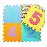 AWSAD Schaumstoff Puzzles Spielmatte Chiffres Et Lettres Imperméable Confortable Sol Mou, 30x30x1cm (Color : B, Size : 10 Pieces)...