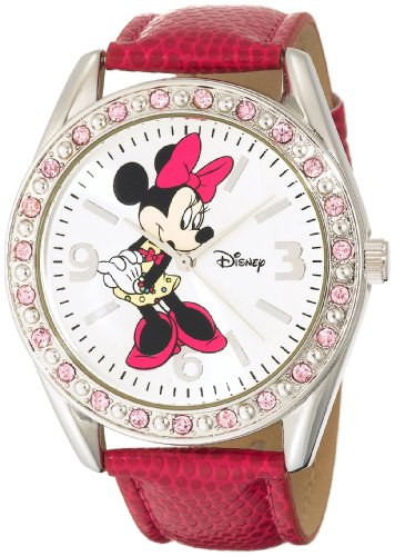 Image of Disney Women's MN1010 Minnie Mouse Silver Sunray Dial Pink Lizard Watch