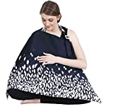 #8: Nursing Cover for Breastfeeding Privacy EXTRA WIDE for Full Coverage - Breathable 100% Cotton , Stylish and High Quality with Pocket - Designed Navy Blue Color