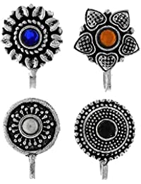 Anuradha Art Multicolour Metal Oxidised Tone Press on Combo Pack Nose Ring/ Pin for Women - Set of 4