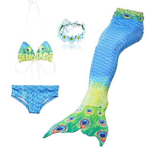 DAXIANG 4 Pièces Petite Fille Maillot de Bain Princesse Queue de Sirène Mermaid Bikini Cosplay Ensembles (pouvez ajouter monopalme) (140(8-9 Ans), Paon)