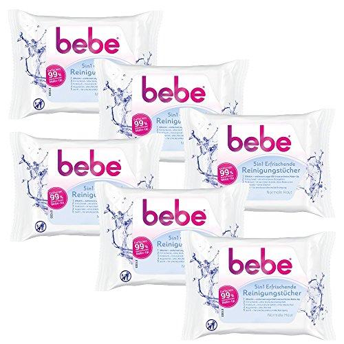bebe 5in1 Erfrischende Reinigungstücher - Abschminktücher für normale Haut - 6 x 25 Stück