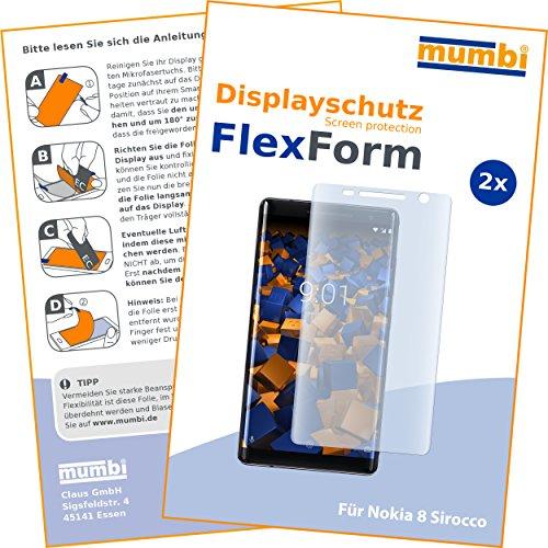 mumbi Flex Schutzfolie kompatibel mit Nokia 8 Sirocco Folie, Bildschirmschutzfolie (2x)