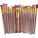 Leisial Set de 20 pinceaux à maquillage rose + noir 19.5*2.0*0.5cm or