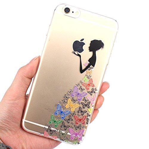 JIAXIUFEN TPU Clear Silicone Étui Housse Protecteur Coque pour Iphone 6 plus / iPhone 6s plus - Pink White Tribal Henna Color21