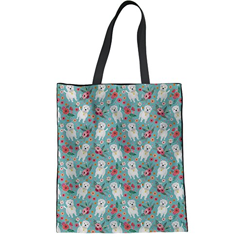 HUGS IDEA Westie Flower Pattern Cotton Handbags Fashion Tote Bag Student Shoulder Bag Laptop Bag -