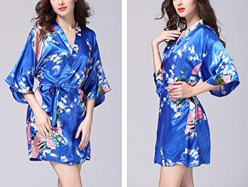 Lannorn Damen 12 Farben Morgenmantel Kimono aus Satin Seide Robes ...
