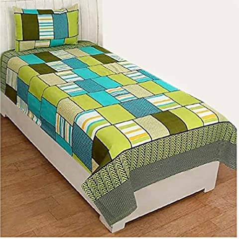 PRIDHI Glace Cotton Single Bedsheet with 1 Pillow cover-Model21