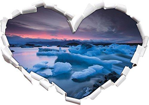 a forma di cuore Estrema Eislandschaft nel formato adesivo aspetto, parete o una porta 3D: 92x64.5cm, autoadesivi della parete, decalcomanie della parete, Wanddekoratio