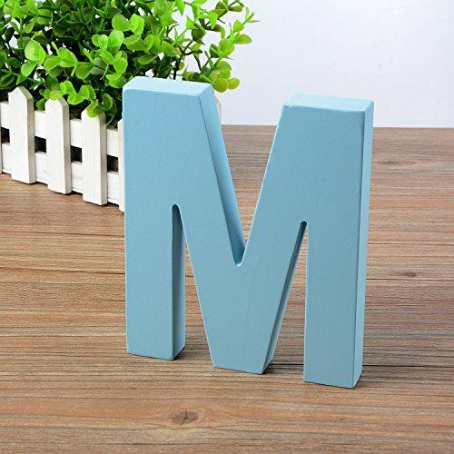 Doolland Wandbuchstaben aus Holz A-Z - Blau Deko Wandbuchstabe für Kinderzimmer Babyzimmer Baby Name Mädchen Schlafzimmer Dekor M (Baby Blau M)