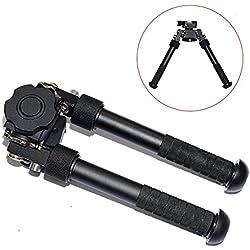 Bípode libre para rifle V8 de Cyberdax, Táctica CNC QD, riel Picatinny, Super Duty, plegable, 16,5 cm - 24,4 cm aprox., ajustable, Negro