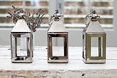 Mini Candle Lantern - Stainless Steel - Tealight Holder Table Wedding - Indoor Outdoor - 10 x 10 x