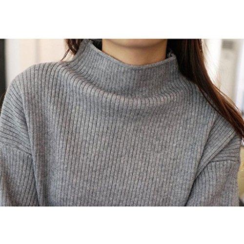 Pull Femmes Hiver, HUHU833 Pull oversize chauve-souris tricoté lâche Casual Mode Tops Sweater Blouse Gris