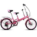 YUMEIGE Bici per Bambini Bicicletta da 20 Pollici, Madre e Figlio Tandem Folding Shifting Disc Brake Fence Cintura di Sicurezza Double Mother Pick Up Child Bicycle Disponibile (Colore : Rosa)