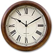 Kesin Silent Wall Clock Wood 14 Inches Retro Round Classic Wall Clocks Large Decorative Battery Operated Non T