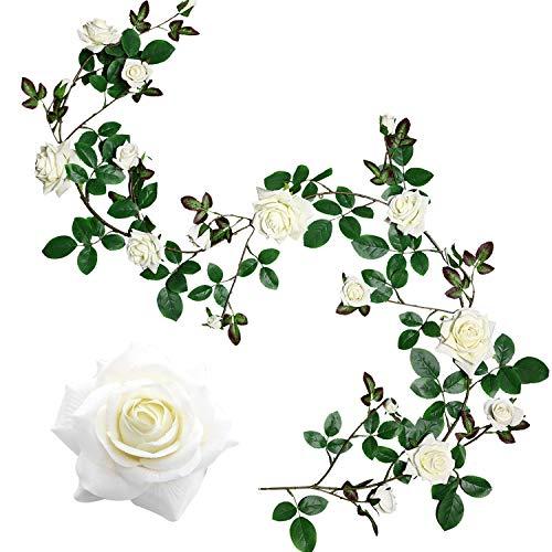 Veryhome Künstliche Seide Rose Blumen Ivy Garland Gefälschte Reben Hängende Pflanzen Blätter Für Hochzeit Garten Wand Valentine Dekorationen (Weiß-6ft-1, Upgrade Version)