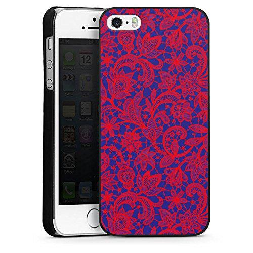 Apple iPhone 4 Housse Étui Silicone Coque Protection Fleur Motif Motif CasDur noir