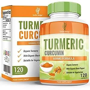 Earths Design Turmeric Curcumin Extract 600mg - Organic Curcuma Longa Root With Black Pepper, Suitable for Vegetarians, 120 Capsules