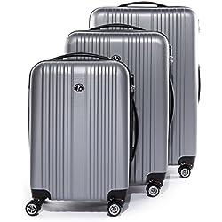 FERGÉ® Set 3 valises Voyage Rigide léger Toulouse Ensemble de Bagages Trois pc Trolley 4 Roues roulettes Doubles 360 degrés Bagage Cabine Argent