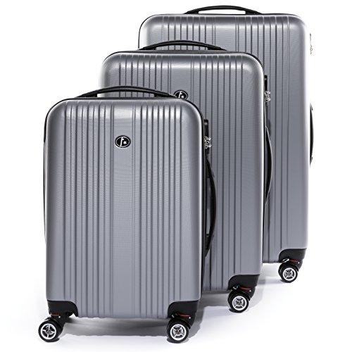 FERGÉ set di 3 valigie viaggio TOLOSA - bagaglio rigido dure leggera 3 pezzi valigetta 4 ruote girevole argento