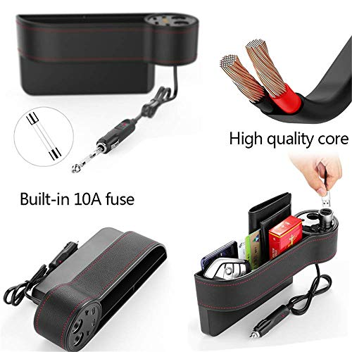 Arteki Car Seat Gap Storage Box, Organizer Bag Charger Voltage Display 2 Car Cigarette Lighter Plug Charger 2 USB Built-in 10A Fuse for Smart Phone,Air Purifier,Car DVR,Car Vacuum Cleaner