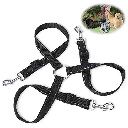 Hundeleine Doppelleine, PETBABA 30-50cm Lang Reflektierend Verstellbar Nylon Training Hunde Leine für 3 Hunde Schwarz
