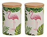 henger-mauk Vorratsdosen 2er Set, Flamingo mit Deckel aus Bambus Weiß/Bunt Flamingo