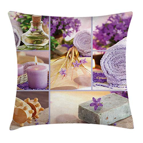 Spa Decor Throw Pillow Cushion Cover by, Lavender Themed Relaxing Joyful Spa Day with Aromatherapy Oils and Candles, Decorative Square Accent Pillow Case, 18 X 18 Inches, Purple and White Lavender Square Candle
