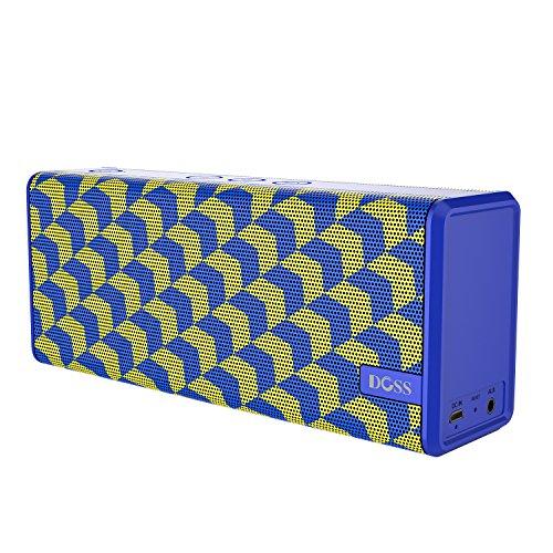 DOSS Soundbox Color-- Mobiler Bluetooth 4.0 Lautsprecher mit 12W sattem Stereo Sound, unschlagbarem Bass und stylischem Design Hohe Preis Leistung mit 12 Stunden Spielzeit und Freisprechfunktion für iOS und Android Geräte [Welle Blau ]