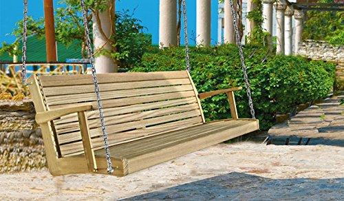 Hängebank Gartenbank Holzbank Gartenmöbel Sitzbank Bank mit Rückenlehne (Zirbe; 190x74x57 mit Kette)
