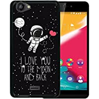 Funda Wiko Rainbow Jam, WoowCase [ Wiko Rainbow Jam ] Funda Silicona Gel Flexible Astronauta Corazón - I Love To the Moon And Back, Carcasa Case TPU Silicona - Negro
