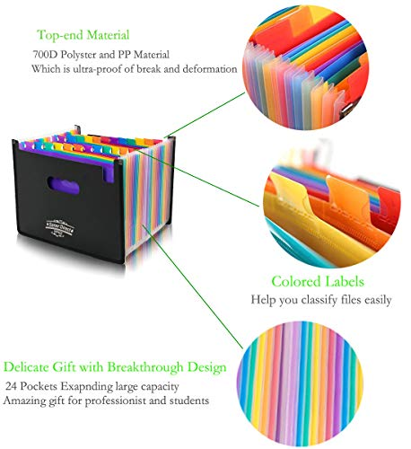 SanerDirect Expanding File Folder, 24 Pockets Multi-Color Accordion A4 Documents File Bill Letter Organiser, Plastic Portable Filling Storage with Big Capacity Expandable Wallet Stand Img 2 Zoom