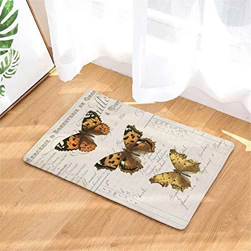 LIS HOME Gelbe Schwarze Schmetterlings-Fußmatte, Blumen-Eintritts-Teppich-Schuh-Schaber-waschbarer Teppich