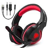 Gaming Headset für PS4 Xbox One PC,Aibesser Audio Stereo Bass mit LED Headset Kopfhörer für Laptop Tablet Smartphone (Schwarz Rot)