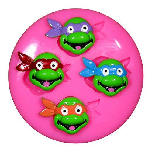 Jugenddurch mutation variation Ninja Schildkröten x 4 TMNT Silikon Form für Kuchen Dekorieren, Kuchen, kleiner Kuchen Toppers, Zuckerglasur Sugarcraft Werkzeug durch Fairie Blessings