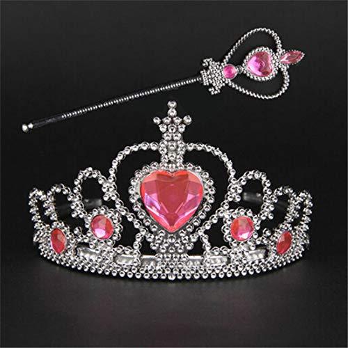 LGJJJ 2 Stück Kinder Haarschmuck Gefrorene Romantik Krone Zauberstab Prinzessin Krone Strass Kopfschmuck