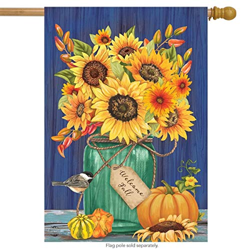 Fall Mason Jar Sunflowers House Flag Autumn Floral for Party Outdoor Home Decor(Size: 12.5inch W X 18 inch H)